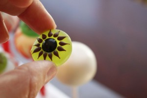 Putting the Eyeball decoration on to the cake pop