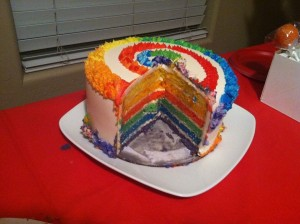 Inside picture of the Rainbow cake layers inside the cake