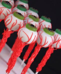 Halloween Eyeball Cake pops with veins and life saver - sixlet eyeballs
