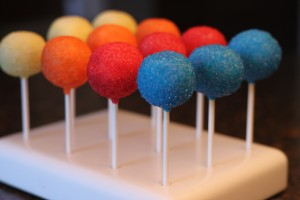 Bright Rainbow colored cake pops