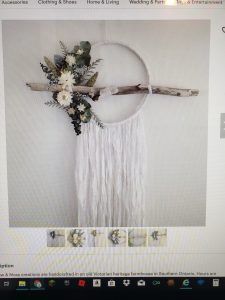 Hoop, wood and florals with ribbon