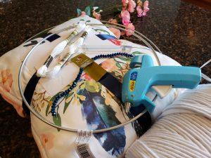 Supplies for Macrame Dream-catcher. Hoops, beads, florals, embroidery thread, glue gun
